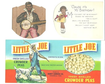 Vintage Black Americana Art Ephemera - Crowder Peas Label - Valentine with little girl - Minstrel Boy with Banjo Cut Out - African American