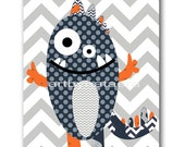 Baby Gift Monster Nursery Art Print Baby Boy Nursery Print Playroom Decor Orange Navy Gray Kids Wall Decor Childrens Art Print Kid Art