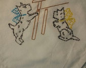 Flour SAck Dish Towel - Hand Embroidery Scottie puppies - Baking Day