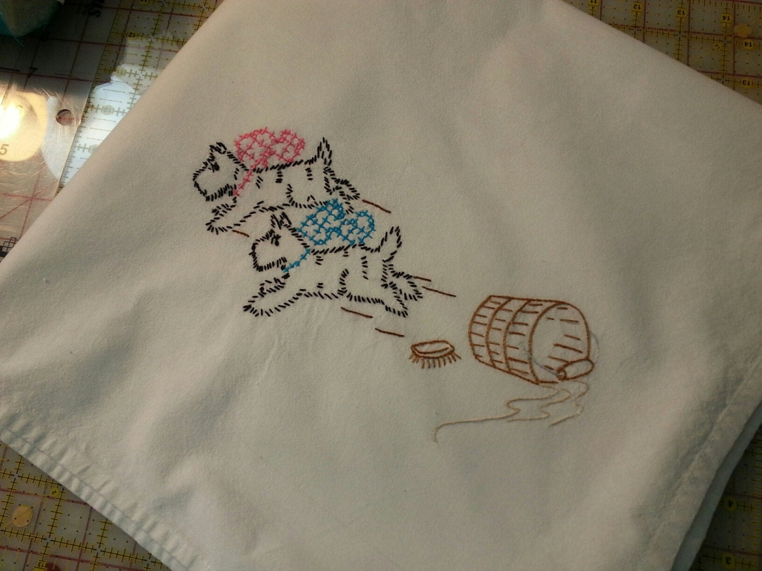 Flour SAck Dish Towel Hand Embroidery by BarbsDollsandCrafts
