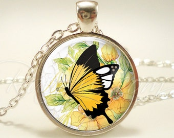 Yellow Butterfly Necklace, Cute Nature Jewelry, Insect Pendant (1831S1IN)