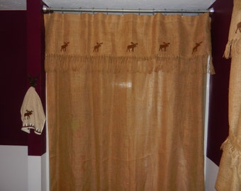 Burlap shower curtain with moose shower curtain valance. Moose window valance and curtain.