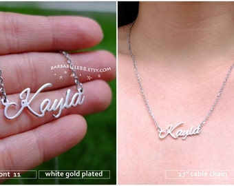 20% off //Font 11 // Personalized Any Name Necklace- 18K Gold-rose Gold- white gold plated -Bridesmaid -mother- Christmas gift.