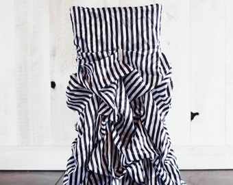 Black & White Stripe Ruched Chair Covers
