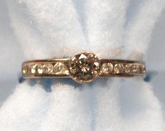 Vintage 14k White Gold Engagement Ring -- Bezel/Channel Set Natural Genuine Diamonds -- 1/2 Carat Total