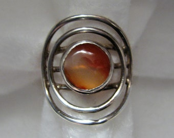 Vintage Artisan-Made AGATE and Sterling Silver Ring -- Size 6-1/4