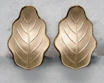 Signed JAN BAALERUD Norway Enamel Earrings -- White with Gold Wash, Clip-Ons