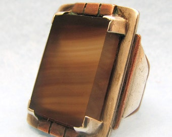 OOAK Vintage AGATE Ring in Sterling Silver and Copper -- Art Deco Look, Size 5