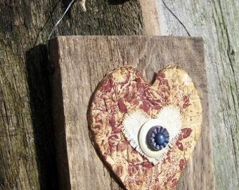 Vintage Quilt and Button Hearts on Reclaimed Barn Wood
