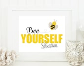 Bumble Bee Nursery Art - Bumble Bee Baby Art - Personalized Nursery Decor - Custom Baby Art - Personal Baby Gift - Bumble Bee Wall Art Print