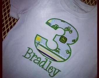 Boys John Deere inspired birthday number applique shirt with name