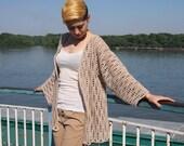 Crochet Pattern women jacket shrug woman cardigan waves beach cover up coat kimono sleeve, photo tutorial, Instant download
