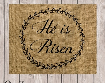 Bible Verse, Scripture art, Matthew 28:6, He is Risen, Scripture Printable, Easter printable, burlap, rustic, 8x10 File, INSTANT DOWNLOAD