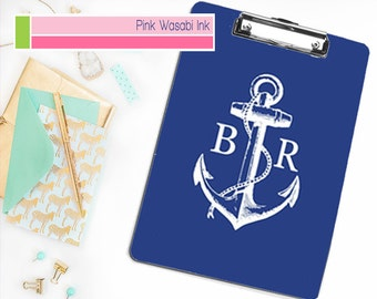 Nautical Clipboard, Monogrammed Clipboard, Personalized Clipboard, Anchor Clipboard
