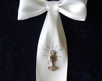 Boy First Communion Arm Bow Ribbon with Silver Chalice