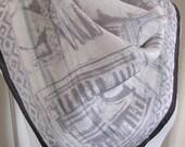 """Small White Gray Black Soft Silk Designer Scarf 21"""" Square"""