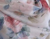 """Designer Pale Pink Floral Sheer Soft Scarf  15"""" x 60"""" Long"""