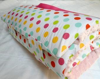 "Toddler Preschool Nap Mat Kindergarten Day Care Blanket Pillow Cover Plush Minky Dots Kindermat Bedding Boys Girls 20"" x 49"" Monogrammed"