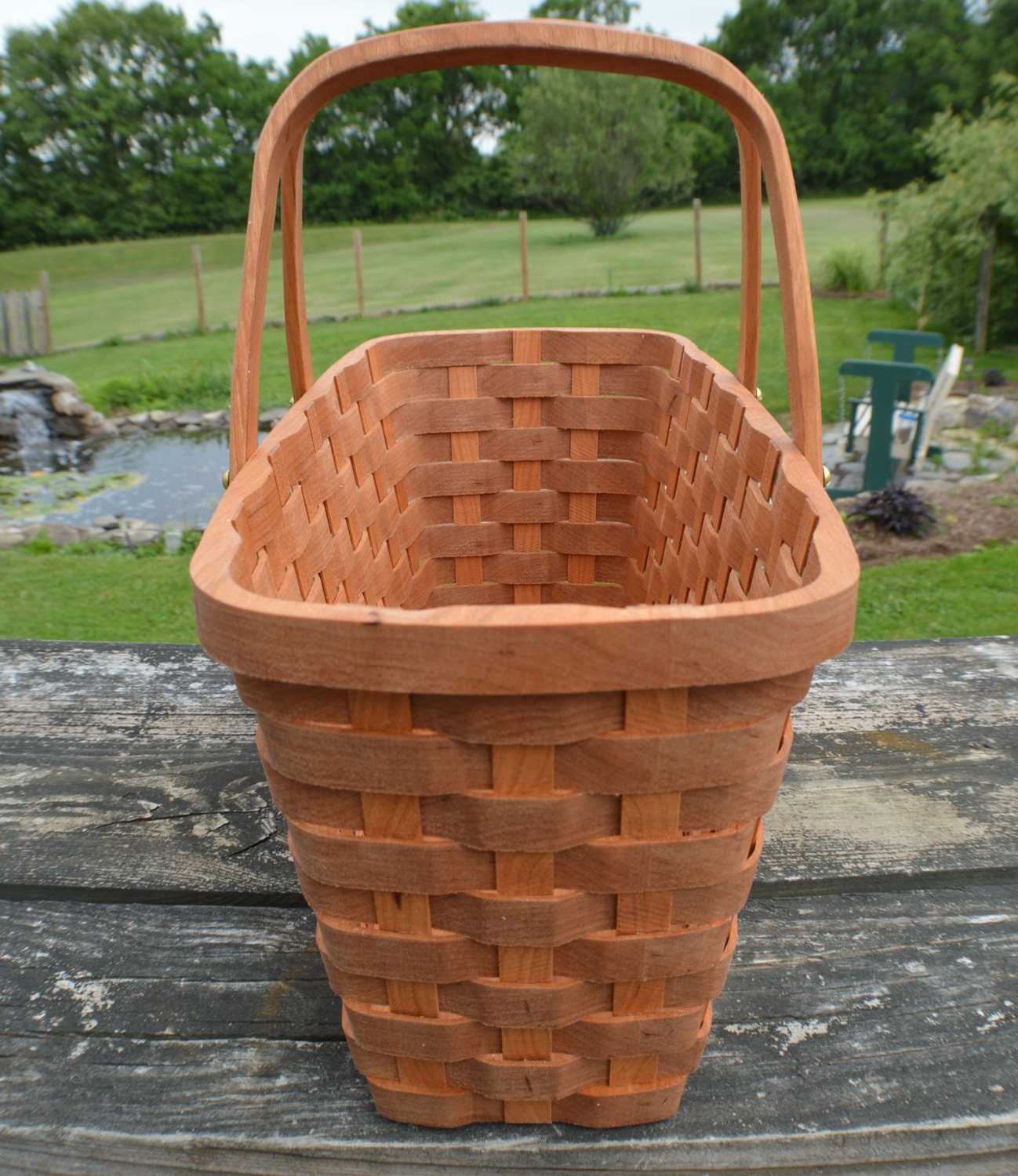 Knitting Basket With Handles : Knitting supplies tote basket with handles cherry by