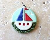 Sail boat pendant, stoneware pendant, sailing yacht, nautical jewellery