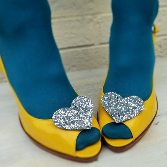 Glitter Heart Shoe Clips Silver Rockabilly Pinup Wedding Bridal Hen Party Shoes