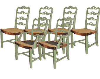 Set of 6 Green Dining Chair Refurbished Vintage Customizable