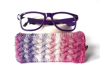SALE - 50% OFF. Multicolor Glasses Case. Multicolor Sunglasses Case. Spectacle Case. Knitted Glasses Case.