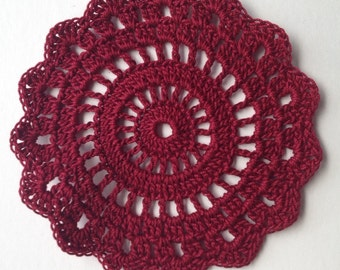 Rose Set-2 Burgundy coaster small doily