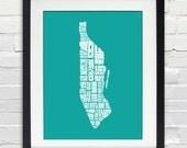 Manhattan Neighborhood Word Map - Typography Map Art, Home Decor, Housewarming Gift, Moving Gift, Travel Map, New York Map, Print or Canvas