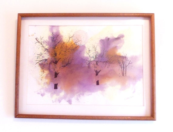 Purple Dragon original watercolor, spiritual art, home decor painting, wall decor, wall hanging, signed painting, framed artwork