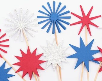 Patriotic Cupcake Toppers Party Picks, Red White Blue Party, Fireworks, Starburst, Fourth of July, Star Independence Day Cupcake Toppers