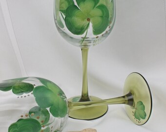 Hand Painted Irish Wine Glasses (Set of 2) - Shamrocks with Green stems