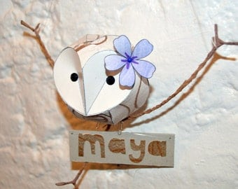 Bespoke baby owl mobile with name plaque, Personalised gift for new baby
