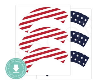 INSTANT DOWNLOAD 4th of July Cupcake Wrappers (4th of July Party, Printable Cupcake Wrappers, Patriotic Cupcake Wrappers, July 4th)