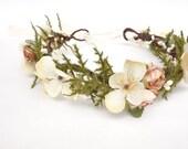 Bridal Flower Crown, Flower Girl Crown, Woodland Headdress, Boho Wedding Headpiece, Maternity Photo Shoot, Fern Head Wreath-MIRIAM