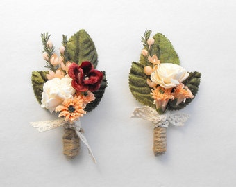 Mens Wedding Boutonniere, Rustic Boutonniere, Peach Wedding, Boho Wedding, Peach Boutonniere, Lapel Pin, Womans Pin Corsage, Boutineer