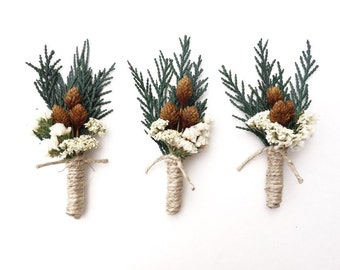 Rustic Boutonniere, Wedding Boutonniere, Winter Boutonniere, Mens Lapel Pin, Woodland Wedding Boutonniere, Cedar Boutonniere, Boutineer