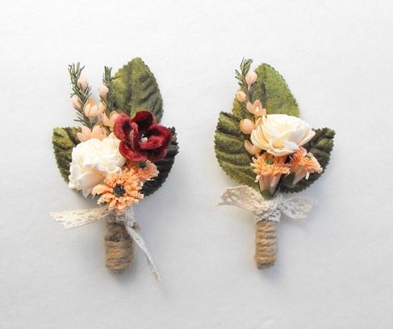 Wedding Flowers Men: Mens Wedding Boutonniere Rustic Boutonniere Peach Wedding