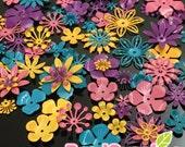 FG-FG-090ST- Nickel free, Color enameled, Sampler set of flower filigree,Tropical mix, 48 pcs