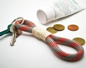 Rope keychain in red, grey and cream, unisex, nautical
