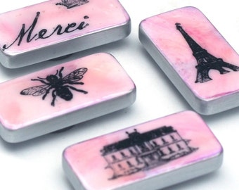 Pink Paris magnet set, French domino magnets altered dominoes, Pastel, Merci, Eiffel tower, Bee, kitchen magnets, gift ideas