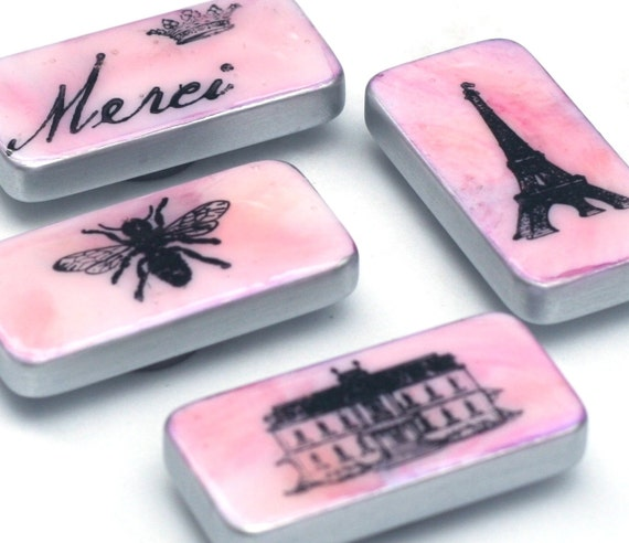 pink paris magnet set french domino magnets altered dominoes. Black Bedroom Furniture Sets. Home Design Ideas