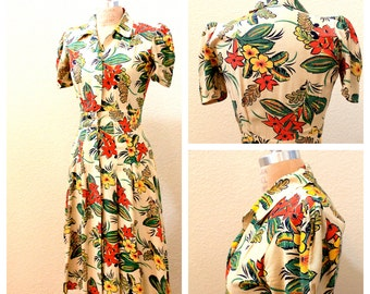 Shutter Island Dolores Dress, 1940s House dress, Excellent Vintage Condition, NOS Size 4-6 Small