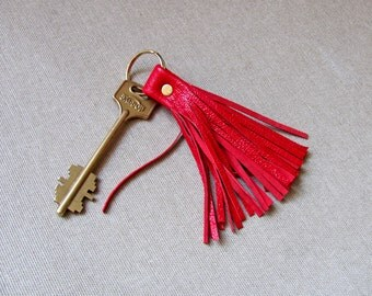 Leather Tassel Keychain, Red