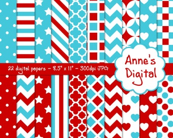 "Red and Aqua Digital Papers - Matching Solids Included - 22 Papers - 8.5"" x 11"" - Instant Download - Commercial Use  (086)"