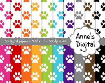 "Paw Print Digital Papers - Matching Solids Included - 30 Papers - 8.5"" x 11"" - Instant Download - Commercial Use (218)"