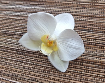 White / Ivory Orchid Hair clip, Wedding Accessories, white phalaenopsis orchid Headpiece