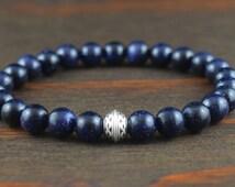 Men's Celtic Bracelet. Blue Goldstone Bracelet. Men's Fashion Bracelet. Goldstone Bracelet. Men's Yoga Bracelet. Lotus and Lava Bracelet.