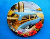 WOODY WAGON Decorative Plate * Car Collector's * Man Cave * Vintage Car * Classic Car * Decorative Plate * Woody Wagon