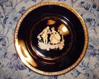 "Limoges Castel France Cobalt and Gold Porcelain Plate, 9.5"" with Courting Scene"